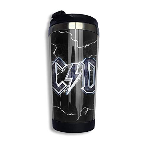 Taza de café ACDC Botella de agua de acero inoxidable Taza de viaje Taza de café con tapa a prueba de derrames
