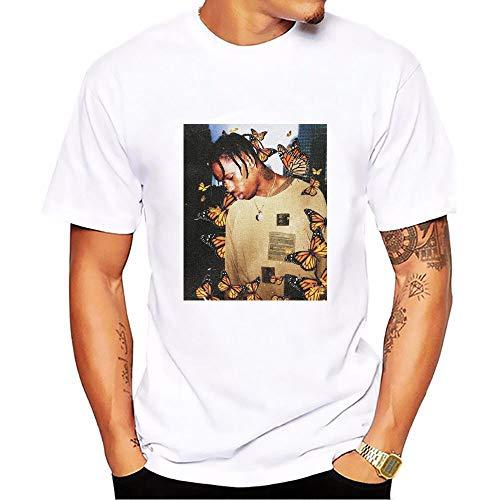 JJZHY Travis Scott Impresión Personalizada Color sólido Algodón Cuello Redondo Manga Corta Camiseta Blanca Unisex,C,XL