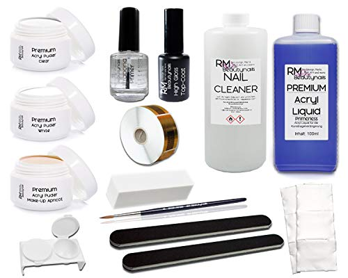 XL Acryl Set 4 3x 20g Acrylpuder Klar Weiß Make-Up Apricot 100ml Liquid 100ml Cleaner Pinsel