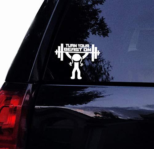 H421ld Calcomanía para levantamiento de pesas Turn Your Beast On Lady, vinilo para gimnasio, fitness, levantamiento de pesas, entrenamiento para coche, calcomanía para portátil