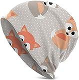 Whecom Strickmützen, Animals Baby Foxes Valentine Funny Upgrade Hip- Adult Knit Beanie Warm Knit Ski Skull Cap Beanie Mütze One Size für Damen und Herren