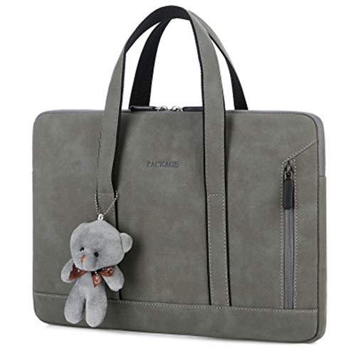 YNLRY Bolsa para portátil 13 14 15 15.6 pulgadas para MacBook Pro Air 13 caso Xiaomi Asus PU cuero bolsa de ordenador de lujo (color gris oscuro, tamaño: para MacBook 13 pulgadas)