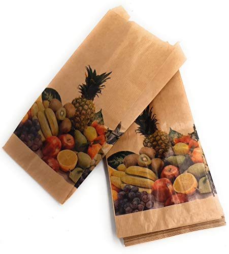 500 Bolsas papel kraft antihumedad para frutas y verduras 14 x 29 cm
