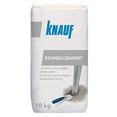 Knauf Schnell-Zement 10-kg minutenschnell abhärtend – Blitz-Zement, Montage-Mörtel für Ausbesserungen und Befestigungen, Blitz-Mörtel mit hoher Früh- und Endfestigkeit, frost- und witterungsbeständig