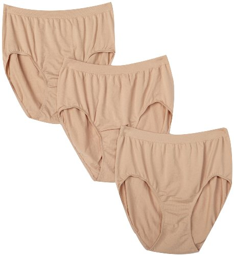Bali Women's Plus Size 3-Pack Solid Microfiber Full Brief Panty, P27-3 Nude, 9