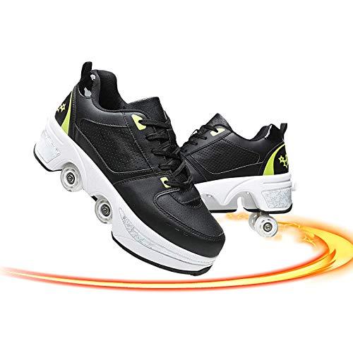 JZIYH Patines de ruedas para niños automáticos invisibles 2 en 1 patines de polea desmontables patinaje de doble fila deformación de la rueda