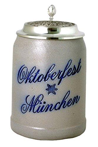 Bavariashop Steinkrug Oktoberfest München mit Deckel Salzglasur - 0,5 Liter, Sammelkrug, Bierkrug, Wiesnkrug