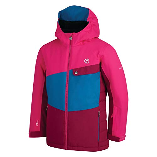 Dare 2b Kinder Wrest Waterproof & Breathable High Loft Insulated Ski & Snowboard Jacket with Snowskirt and Reflective Detail wasserdichte, isolierte Jacken, Fuschia/Atlantic Blue, 7-8