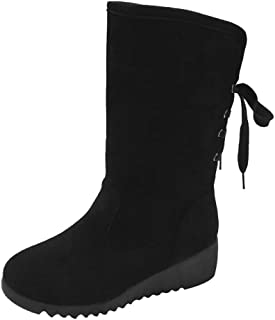 a844692ab3c6 Mysky Fashion Women Winter Warm Solid Wedges Middle Tube Boots Ladies  Vintage Lace Up Snow Boots