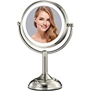 "VESAUR Professional 10"" [Large Tall Size] Lighted Makeup Mirror, 5X 2-Sided Magnifying Vanity Mirror with 48 Medical LED Lights, Senior Pearl Nickel Cosmetic Mirror, Brightness Adjustable (0-1100Lux)"