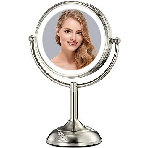 VESAUR Professional 10' [Large Tall Size] Lighted Makeup Mirror, 5X 2-Sided Magnifying Vanity Mirror with 48 Medical LED Lights, Senior Pearl Nickel Cosmetic Mirror, Brightness Adjustable (0-1100Lux)