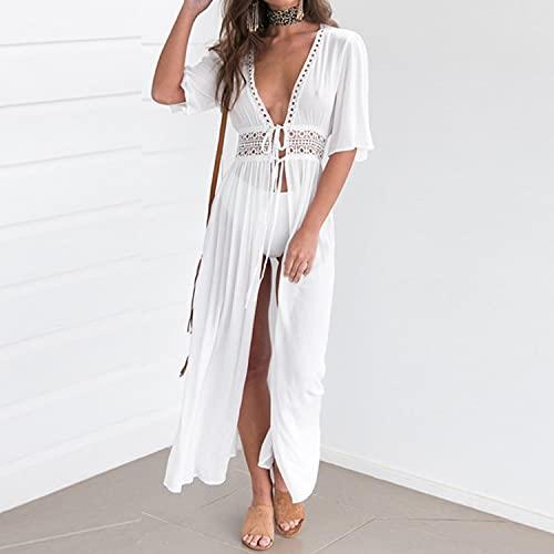glusess Vestido largo de playa para mujer, de gasa, con parte delantera abierta, con cordón, para playa, sexy y transparente (color: blanco, talla: XXL)