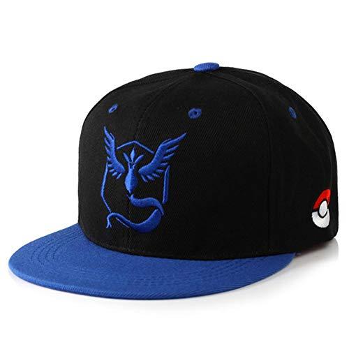 UKKD Casquette Homme Pokemon Go Team Valor Baseball Cap De Baseball Unisexe Broderie Mystic Team Instinct Snapbackhop Hat Metal Mulisha Pokemon