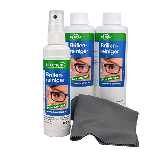 bio-chem Brillenreiniger mit ANTI-BESCHLAG-Funktion, Schutz vor beschlagenen Brillen, Anti-Fog-Spray, 100 ml Sprayflasche + 2x 250 ml Nachfüllflasche (600 ml) + Premium-Mikrofasertuch/Brillenputztuch