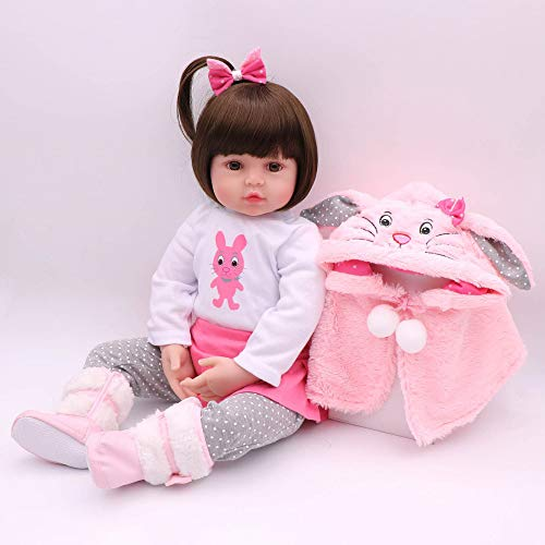 CHAREX Lifelike Reborn Baby Dolls, 18 inches Realistic Weighted Reborn Baby Girl Toddler Girls Rabbit Toy Gift Set