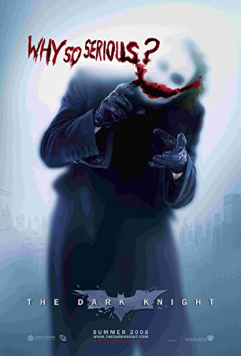 The Dark Knight Movie ' Why So Serious? Smile ' Batman Joker Christian Bale Heath Ledger 12 x 18 Inch Quoted Poster Unframed Rolled