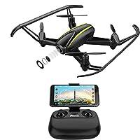 Drone avec caméra HD, Super Grand Angleà 120 degrés RC Drone avec WIFI 720P caméra. ( N'inclut pas la carte SD et USB adaptateur! Si vous en avez besoin, veuillez acheter séparément) Meilleur cadeau de la fête. Alarme automotique en dehors de la zone...