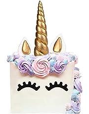 AIEX Enhörning tårtdekoration handgjord guld födelsedagstårta, enhörning horn, öron och ögonfrans tårtdekorationer, söt enhörning födelsedag/baby shower/semester fest tårtdekoration (5 delar)