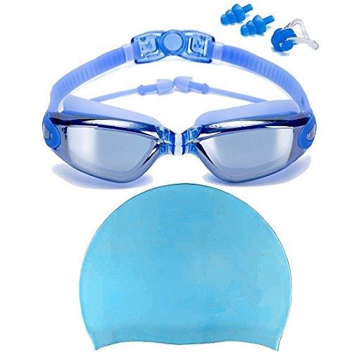 Swim Goggles + Swim Cap, Swimming Goggles No Leaking Anti Fog UV...