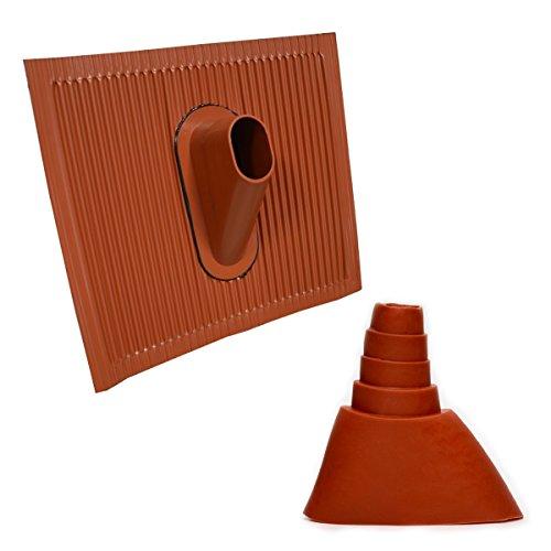 Dachabdeckung Alu-Dachziegel Rot Dach Montage Abdeckung Ziegel Dachpfanne für Sat Dachsparrenhalter + Universal Gummimanschette Rot