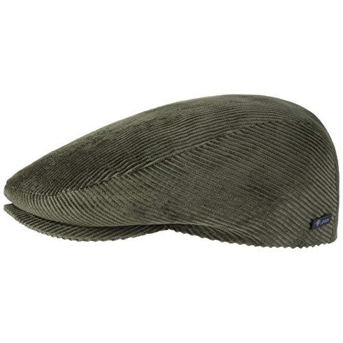 Lipodo Cord Flatcap Oliv Herren/Damen - Schirmmütze aus Baumwolle - Schiebermütze mit Futter - Cap Größe M 56-57 cm - Cordmütze Sommer/Winter
