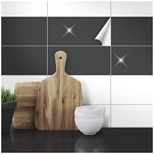 Wandkings Fliesenaufkleber - Wähle eine Farbe & Größe - Anthrazit Glänzend - 10 x 20 cm - 50 Stück für Fliesen in Küche, Bad & mehr