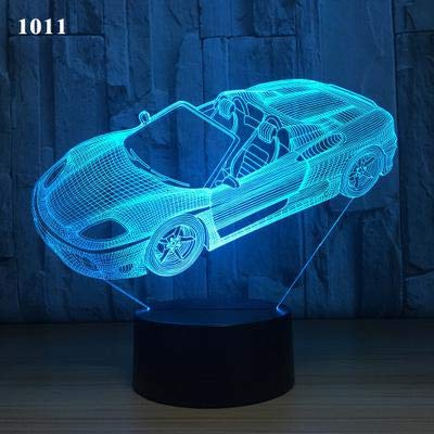 Cool Fashion Luxury Sports car Speed ​​Racing F1 Tracción en las cuatro ruedas Vintage Concept car 3D LED Lámpara de mesa con luz nocturna Decoración del hogar Regalo para niños