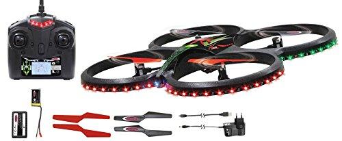 Jamara 038560 - Quadrocopter Flyscout Kompass mit LED und Kamera, 2.4 GHz Fernsteuerung