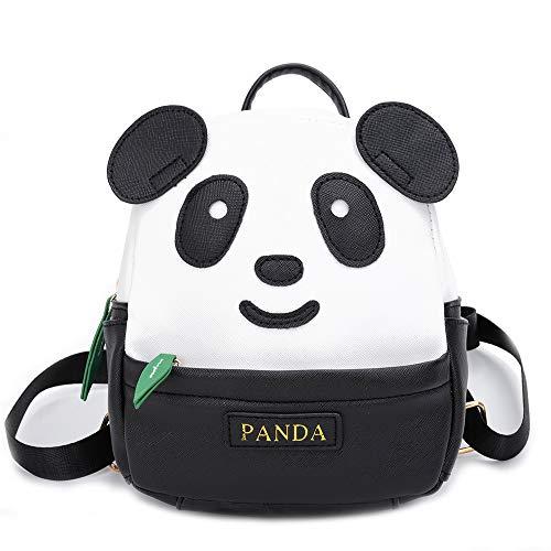 YUHUAWYH Mochila Para Niños Panda de Dibujos Animados Pequeños Mochila de cuero de PU Mochilas Bolso de Viaje Para Niños en Edad Preescolar Niñas 1-6 Años (Negro-L)