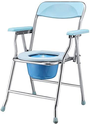 GUOZ Folding Medical KopfendeCommode Stuhl Mietklo, Potty Toilettenstuhl - Comfort Chair Perfekt für ältere Menschen, Schwangere Frauen,Blau