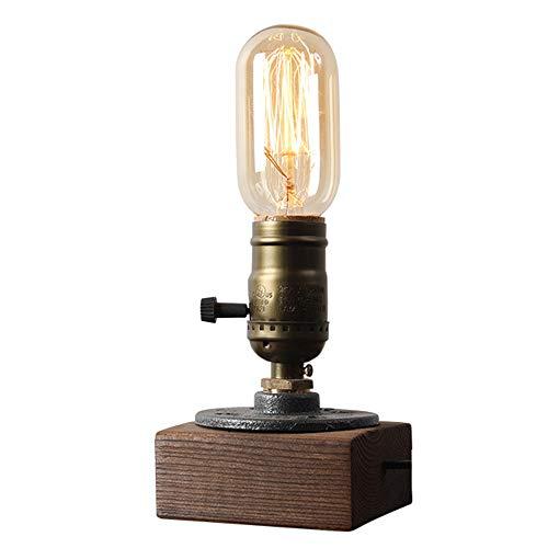 WRZ Retro Houten blok lamp creatieve metalen lamp roterende schakelaar massief hout tafellamp E27 lichtbron woonkamer tegen restaurant gang cafe bar licht