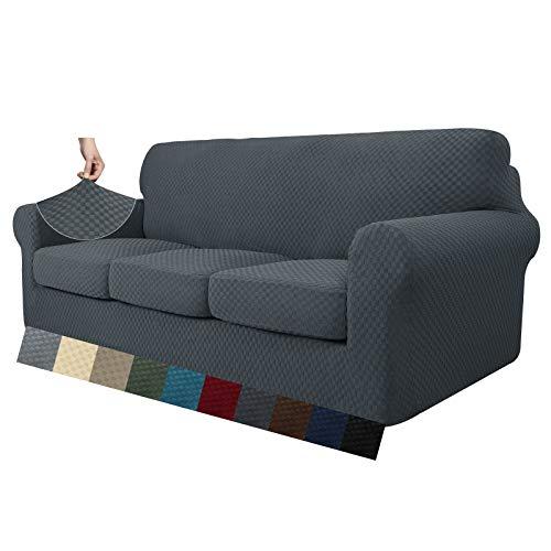 MAXIJIN 4 Piezas más Nuevas Fundas de sofá para 3 plazas elástico Antideslizante Funda de sofá para Perros elástico Jacquard Protector de Muebles Fundas de sofá (3 plazas, Gris Oscuro)