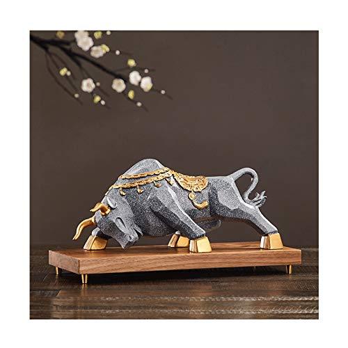 Decoración de escritorio Exquisita estatua de vaca con resina de la base de la decoración de la estatua de vaca animal, como estatuilla metafórica del mercado de toros for inversores financieros stock