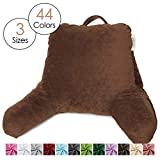 Nestl Reading Pillow, Medium Bed Rest Pillow with Arms for Kids Teens & Adults – Premium Shredded Memory Foam TV Pillow - Brown Chocolate