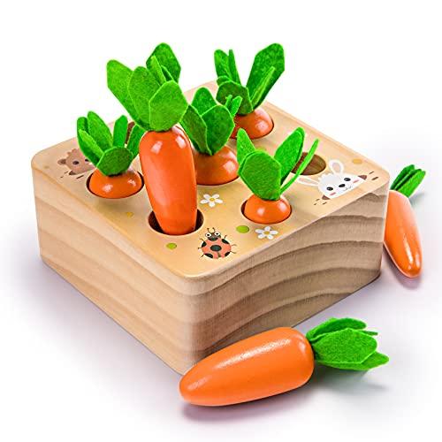 YGJT Juguetes Bebes 1 Año Montessori de Madera Juegos Educativos Niños 2 Años Niños Zanahoria Rompecabezas Regalo Bebe Favorito de Cumpleaños/Navidad (Zanahoria)