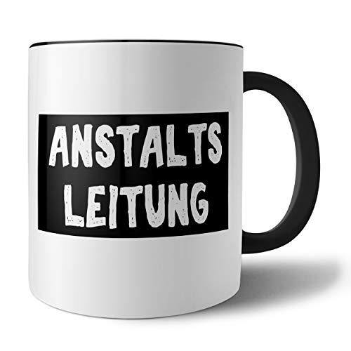 PHRASE 1 by FotoPremio Tasse mit lustigem Spruch - Anstaltsleitung | Kaffeetasse beidseitig Bedruckt | Geschenkidee für Chef/Chefin | Lustige Tasse fürs Büro