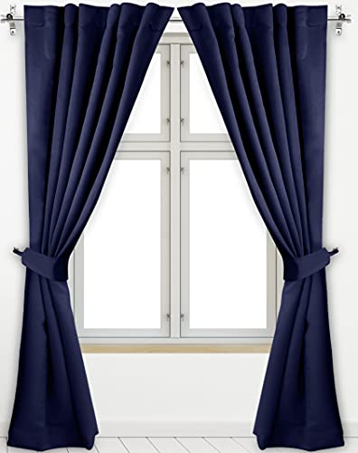 Utopia Bedding 2 Panels Rod Pocket Blackout Curtains with 2 Tie Backs W52 x L84 Inches, Thermal Insulated Window Draperies - 7 Back Loops per Panel, Navy