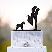 Wedding Cake Topper with Dog,Miniature Schnauzer,Schnauzer Cake Topper,Cake Topper Dog,Topper with Dog,Boxer Dog Wedding Cake Topper,a15