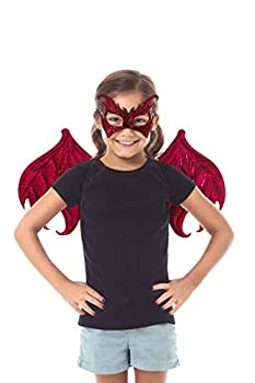 Little Adventures Reversible Dragon Mask and Wing Sets for Boys & Girls  Ages 3-8   Red