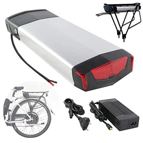 Aire libre Montaña E bici de la batería de 36V 10-18Ah gran capacidad de iones de litio con Parrilla de equipaje y el cargador, la batería eléctrica de la bicicleta de 250W-750W Motor,Silver-36V 15Ah