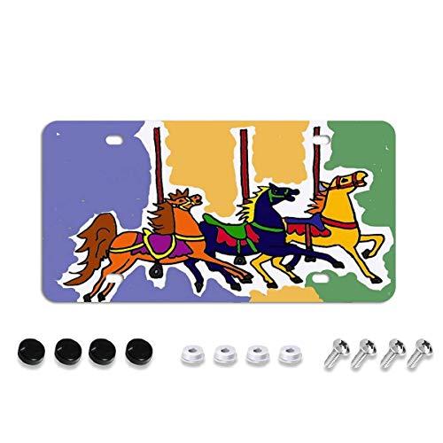 Placa de matrícula de metal de aluminio para coche, diseño de caballos de carrusel