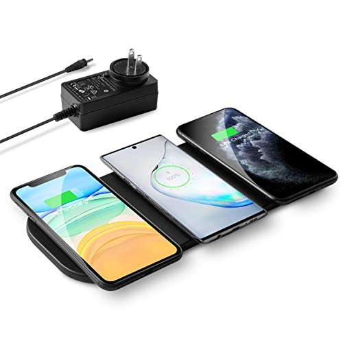 3x10W Wireless Charging Pad, ZealSound Qi-Certified Ultra-Slim Fast Triple Wireless Charger Station for Multiple 3 Devices & New Airpods Leather W/AC Adapter for All Qi Enabled Phones(Black)