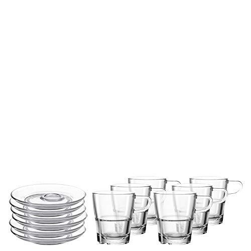 Leonardo Senso Tasse und Unterteller, spülmaschinengeeignete Kaffee-Gläser mit passenden Untertassen, 12er Set, 250 ml, 032830