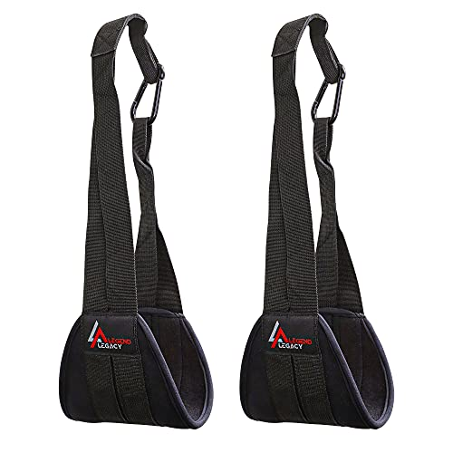 Legend Premium Hanging Ab Straps Pair for Abdominal Muscle Building Exercises for Men & Women. Heavy-Duty, Wear-Resistant & Comfortable Foam Padded Leg Raise Slings for Pull Up Bars