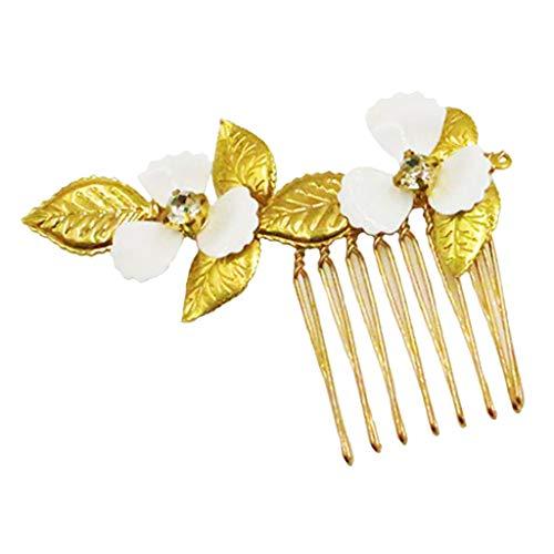 Baoblaze Peine de Pelo Nupcial Peineta de Flores Blancas y Hojas Dordas con Diamantes Artificiales Herramienta de Peinado para Mujer