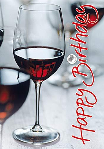 Verjaardagskaart Mini-Card - wijnglas, kristallen sticker - 5,2 x 7,4 cm