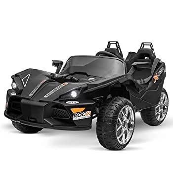 Uenjoy 2 Seats Kids Car 12V Ride On Racer Cars Battery Operated Electric Cars w/ 2.4G Remote Control,Spring Suspension Wheels,3 Speeds,LED Lights,Music,AUX Cord,USB Port,Car Key,Black