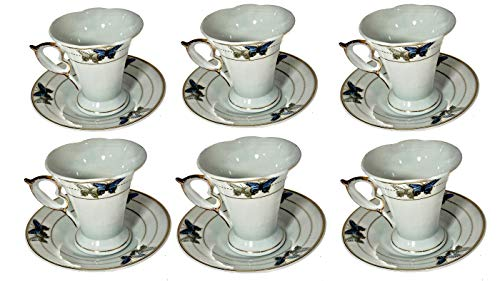 """Joseph Sedgh """"Mid-Century French"""" Collection - 12 PIECE SET - Classic Coffee, Espresso, Cappuccino Cup and Saucer Set- Ideal for Weddings, Engagements and Parties (Fancy English Butterflies)"""