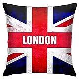 NA Fundas de Almohada con la Bandera de Londres, Reino Unido, Funda de Almohada Cuadrada Decorativa, Funda de cojín Suave y sólida para sofá, Dormitorio, Coche