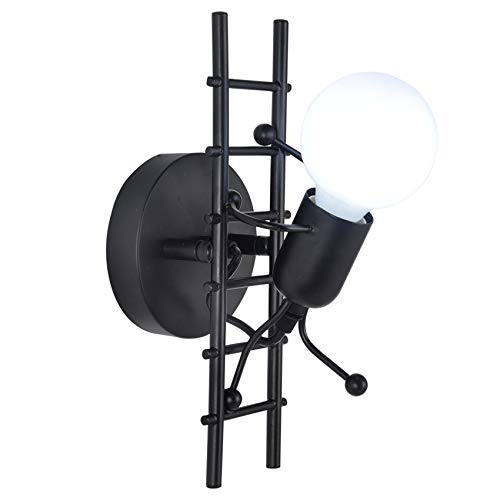 Apliques humanoides creativos de pared modernos para pared decoración de pared industrial lámpara máxima 60 W E27 para dormitorio habitación de niños pasillo restaurante escalera (negro)
